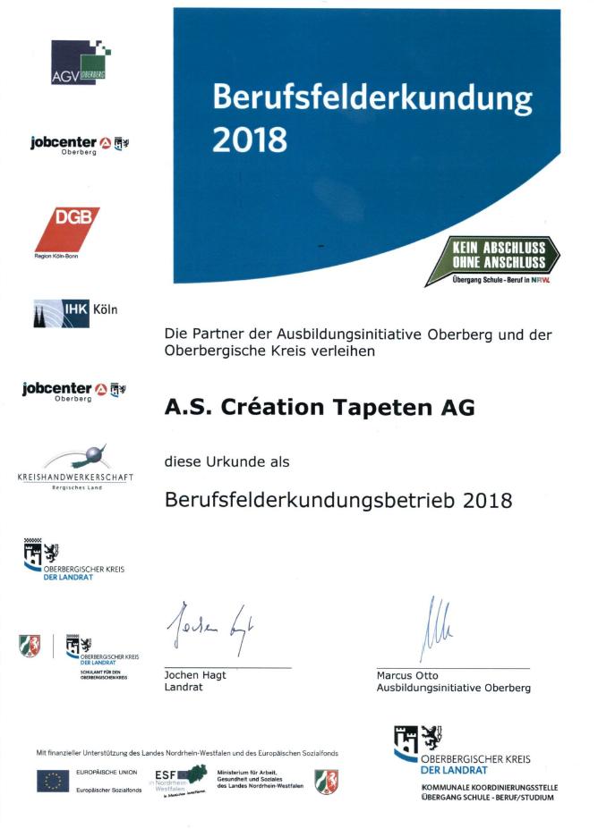 Berufsfelderkundung bei A.S. Création in Gummersbach und Wiehl